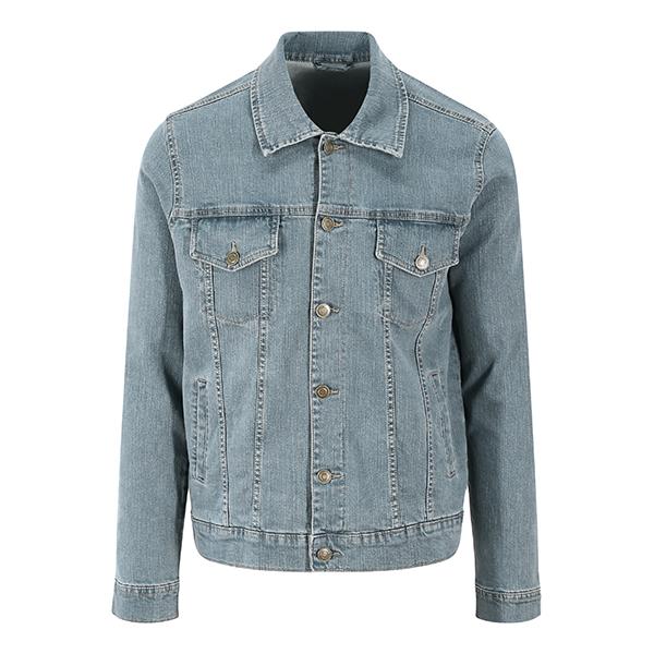 Giacca di Jeans blu chiaro - Giacca da uomo blu chiaro in denim elasticizzato. La giacca ha quattro tasche, cuciture a contrasto, chiusura con bottoni automatici.
