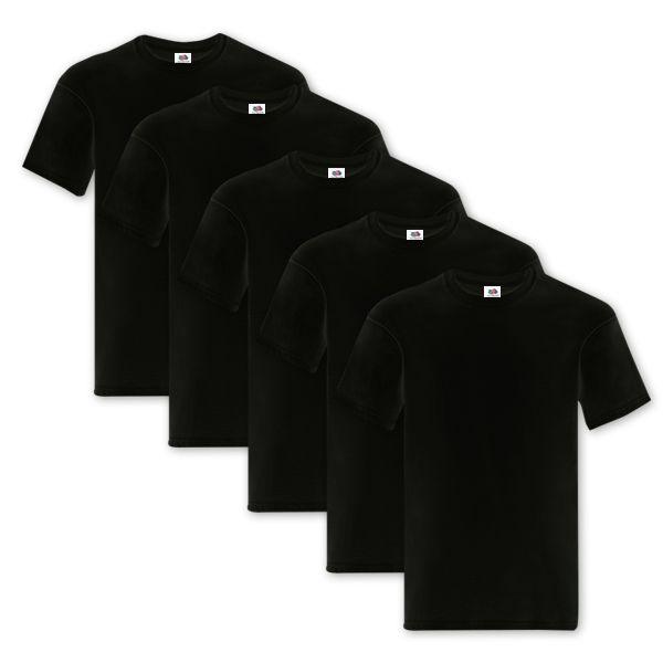 Pacco 5 T-Shirt Fruit of the Loom - Pacco da 5 T-Shirt Nera Fruit of the Loom Original T uomo. T-shirt manica corta girocollo, struttura con busto tubolare.